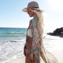 Womens Floral Print Beach Cover up Swimwear floral print fringe hem cover up