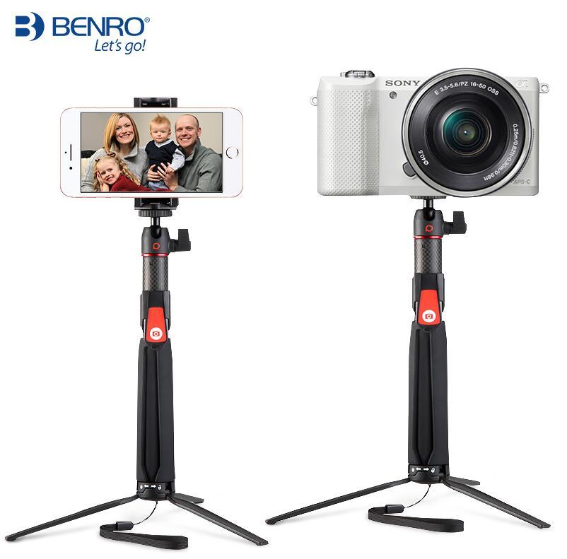 Benro SC1 mini trépied en fibre de carbone selfie bâton + Bluetooth sans fil pour smartphone Gopro caméra d'action souple 3 4