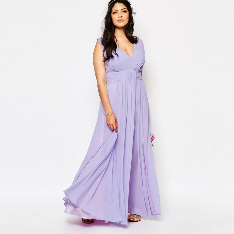 Plus size v neck lilac chiffon bridesmaid dresses long for Plus size wedding party dresses