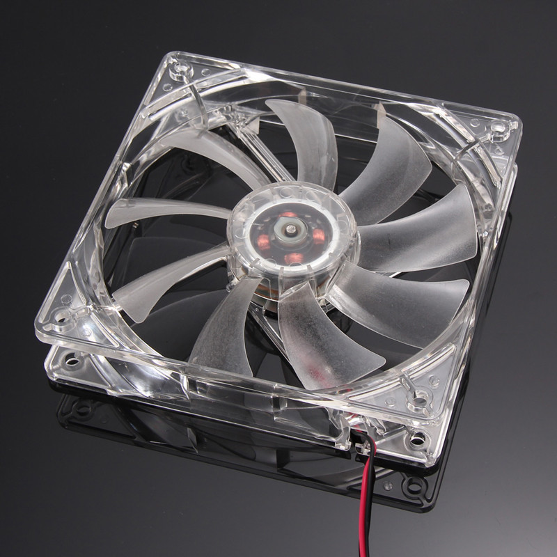 Red Quad 4-LED Light Neon Clear 120mm PC Computer Case Cooling Fan Mod 6M3 Drop Shipping