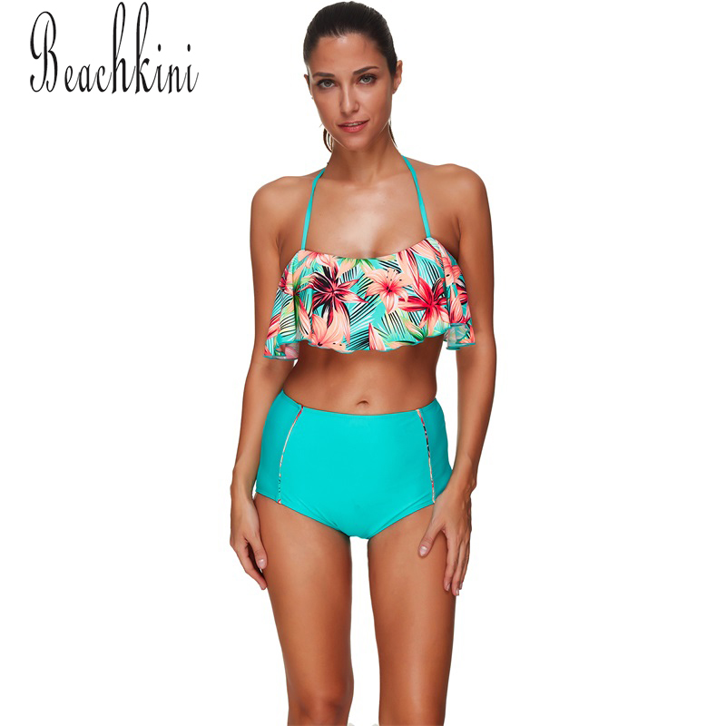 Halter Neck Bikini New Flounce Two Pieces Swimwear Women High-Waisted Floral Printed Swimsuit Sexy Backless Lady Bathing Suit