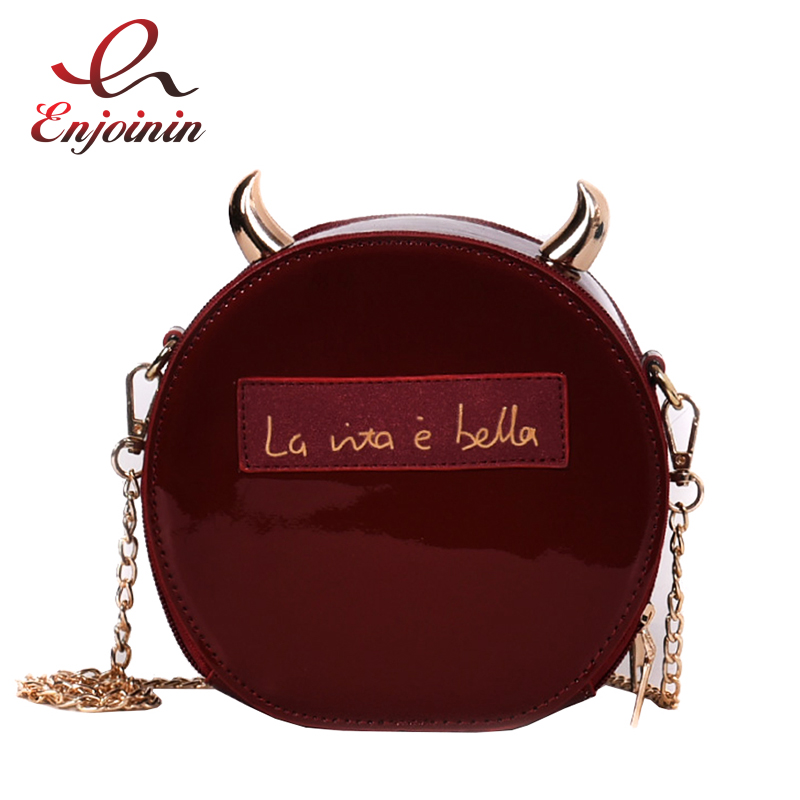 Dazzling Patent Leather Round Fashion Devil Horn Girl's Chain Shoulder Bag Handbag Crosssbody Mini Messenger Bag For Women Flap