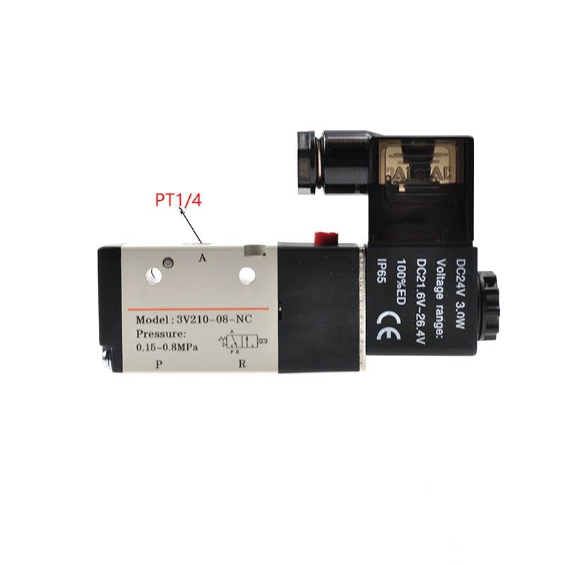 10pcs/lot 3 Way 1/4 BSP 1/4 Inch Pneumatic Solenoid Valve 3V210-08 12v 24v 110v 220v DC AC