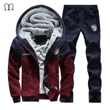 2019 Warm Set Men New Sportswear Autumn Suit Clothes Tracksuits Zipper Fur Hooded Sweatshirt+Sweatpants Mens Sporting Track Suit(China)