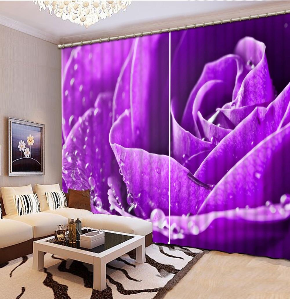 Top Classic 3D European Style 3d curtains Custom any size purple flower rose purple flower bedding bedroom decor