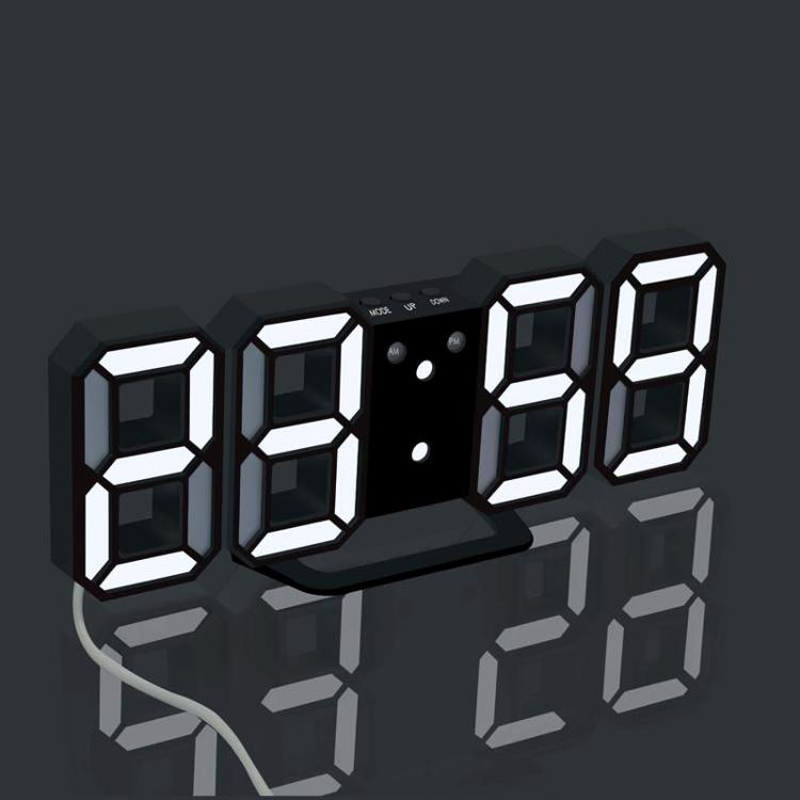 3D LED Wall Clock Modern Design Digital Table Clock Alarm Nightligh Watch For Home Living Room Decoration image
