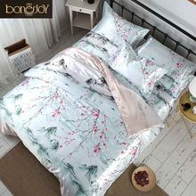Bonenjoy Chinese Style Bedding Satin Silk Flat sheet Summer used Bed Covers Flower Printed Bedding Sets Queen Size Bed Linen(China)