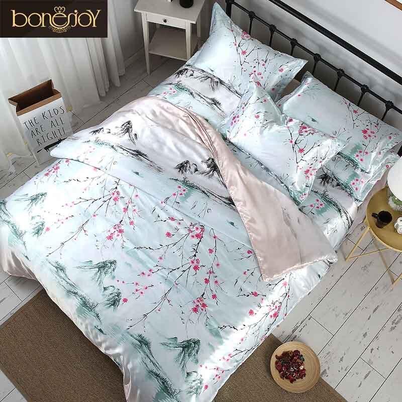 Bonenjoy Style chinois literie Satin soie plat feuille été utilisé couvre lit fleur imprimé ensembles de literie reine taille linge de lit-in Ensembles de literie from Maison & Animalerie    1