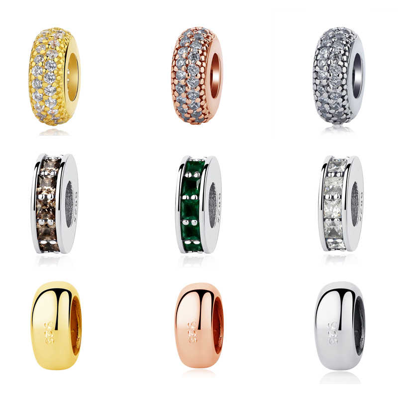 940344449 Authentic 925 Sterling Silver Bead Charm Classic Shine Open Bangle Spacer  Charms Stopper Fit Pandora Bracelets