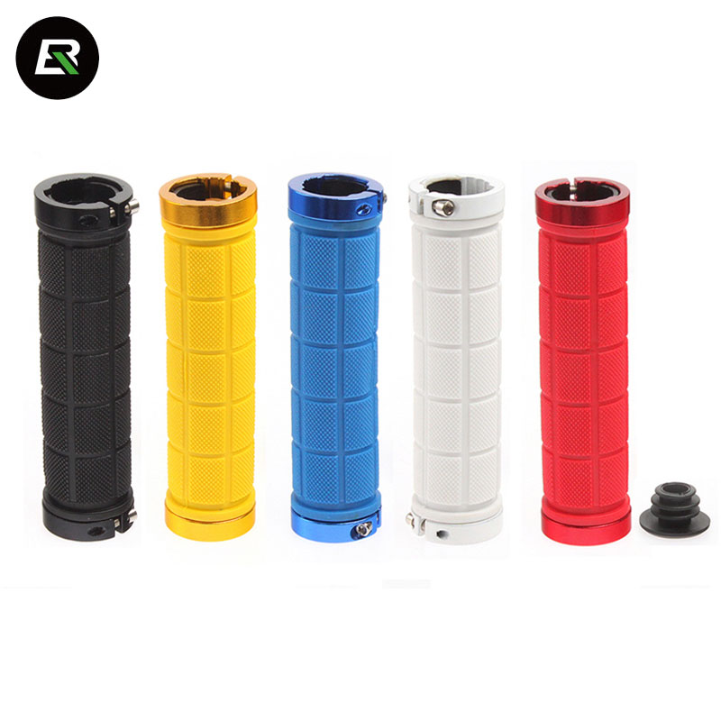 Rockbros Bicycle Handlebar Grips Aluminum Alloy Rubber Bike Grip Black White Red Mountain Bike Handlebar Grips Cycling Parts