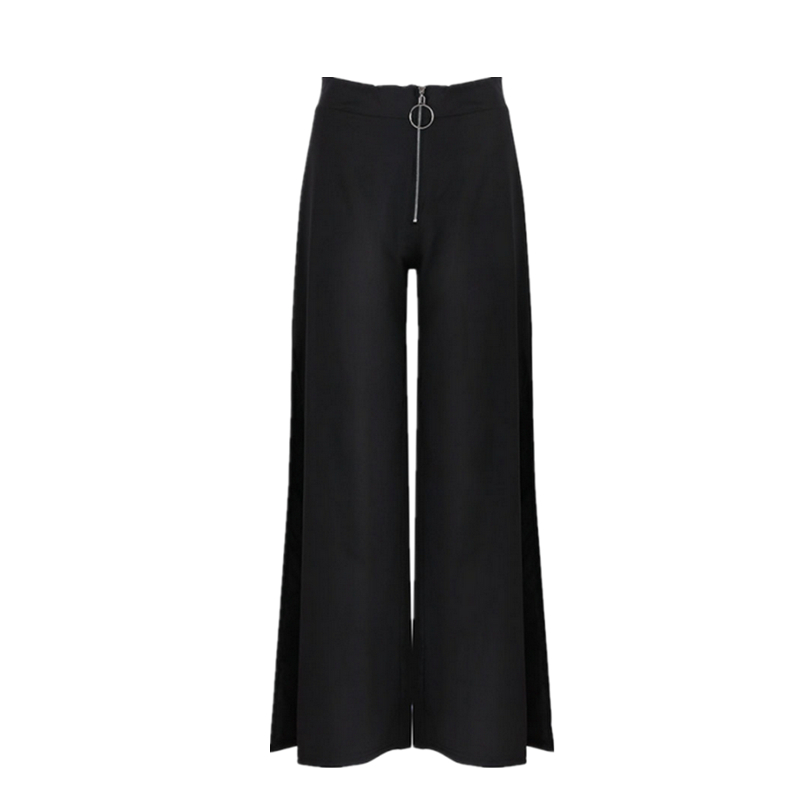 2018 Trousers Women High Waist Bell Bottom Metal Ring Flare   Pants   Wide Leg   Pants   Big Plus Size XL Black White Female   Capris