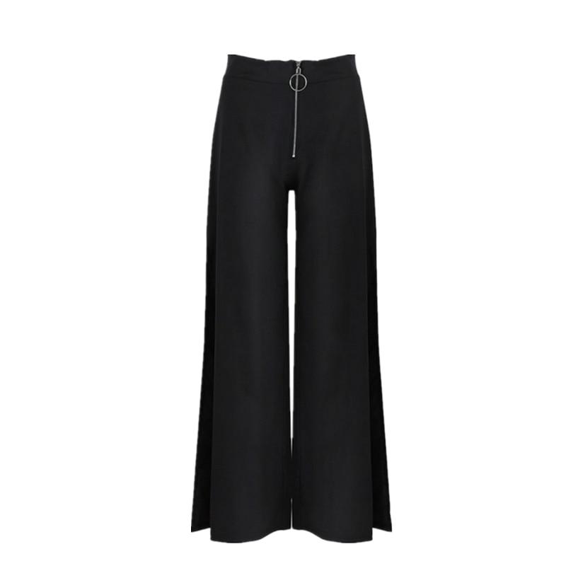 2018 Trousers Women High Waist Bell Bottom Metal Ring Flare   Pants     Wide     Leg     Pants   Big Plus Size XL Black White Female Capris