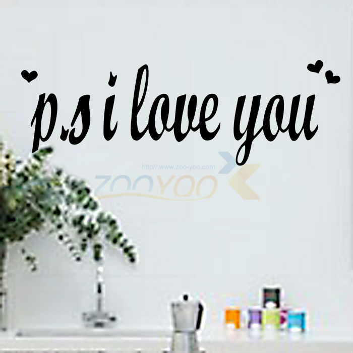 P.S I Love You creativewall decal ZooYoo8180 decorative adesivo de parede removable vinyl wall sticker