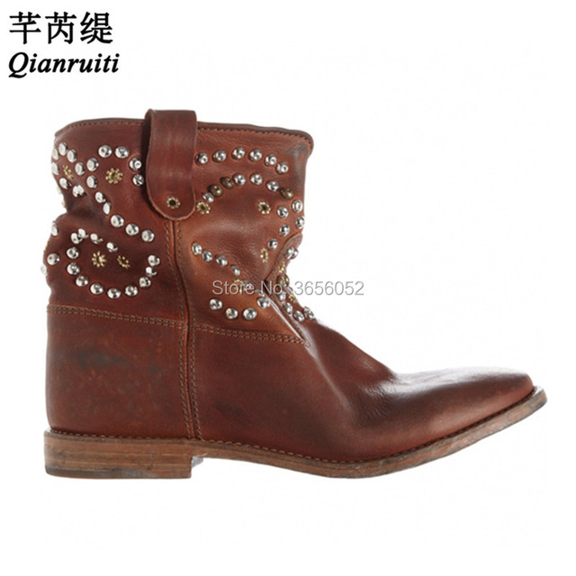 54c5f72dced US $99.6 33% OFF Qianruiti Celebrity Black White Brown Vintage Leather  Botas Rivet Studs Shoes Pointed Toe Height Increasing Wedge Boots Women-in  ...