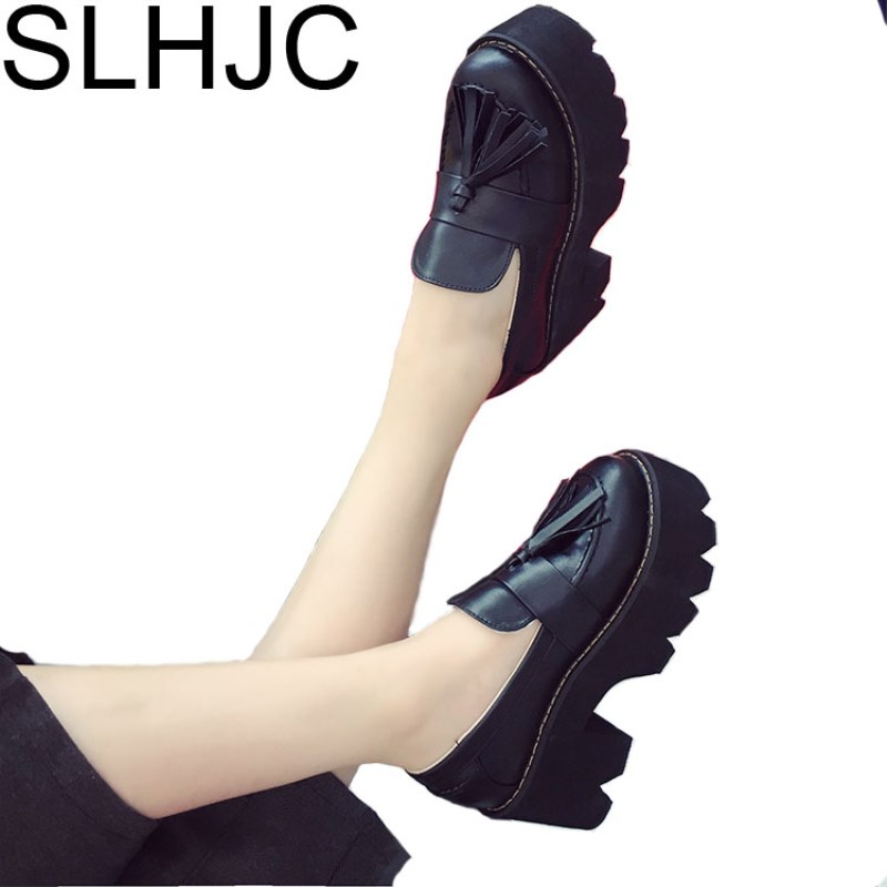 SLHJC 2017 Autumn Platform Shoes Female Lacing Round Toe Wide Heel Leather Pumps Women's British Style High Heel Shoes трикотаж topshop 2014