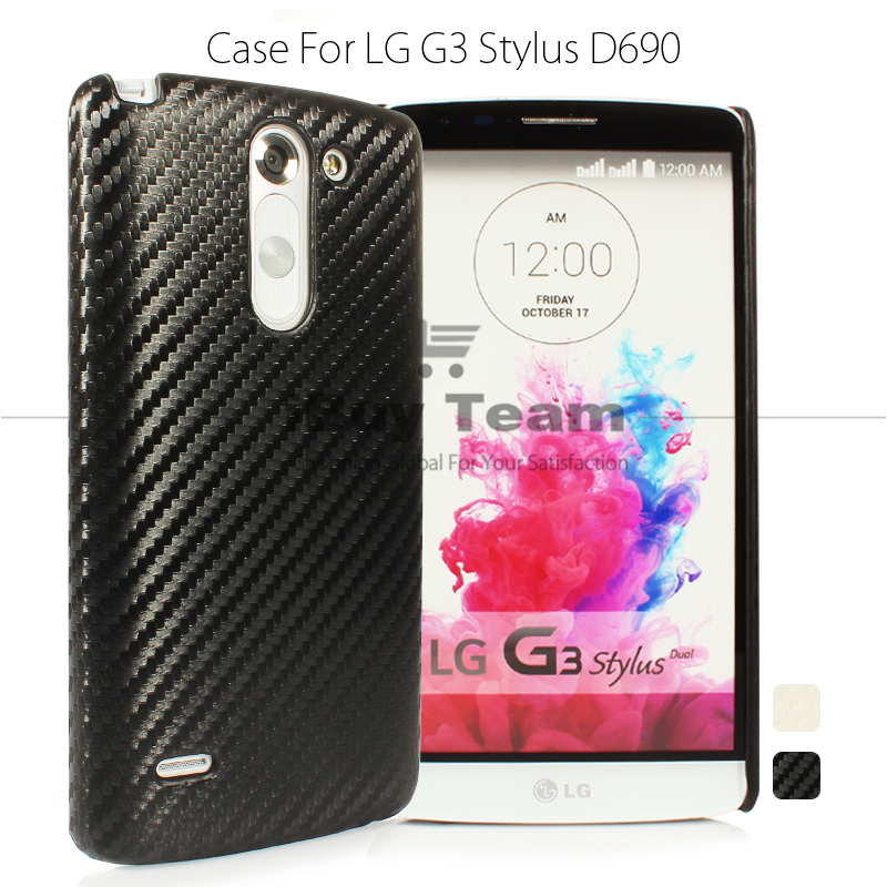new concept 321d8 56668 US $5.43 |For LG G3 Stylus D690N Case Fashion Carbon Fiber Back Cover for  LG G3 Stylus D690 Plastic Protective Shell Woven Pattern White-in ...