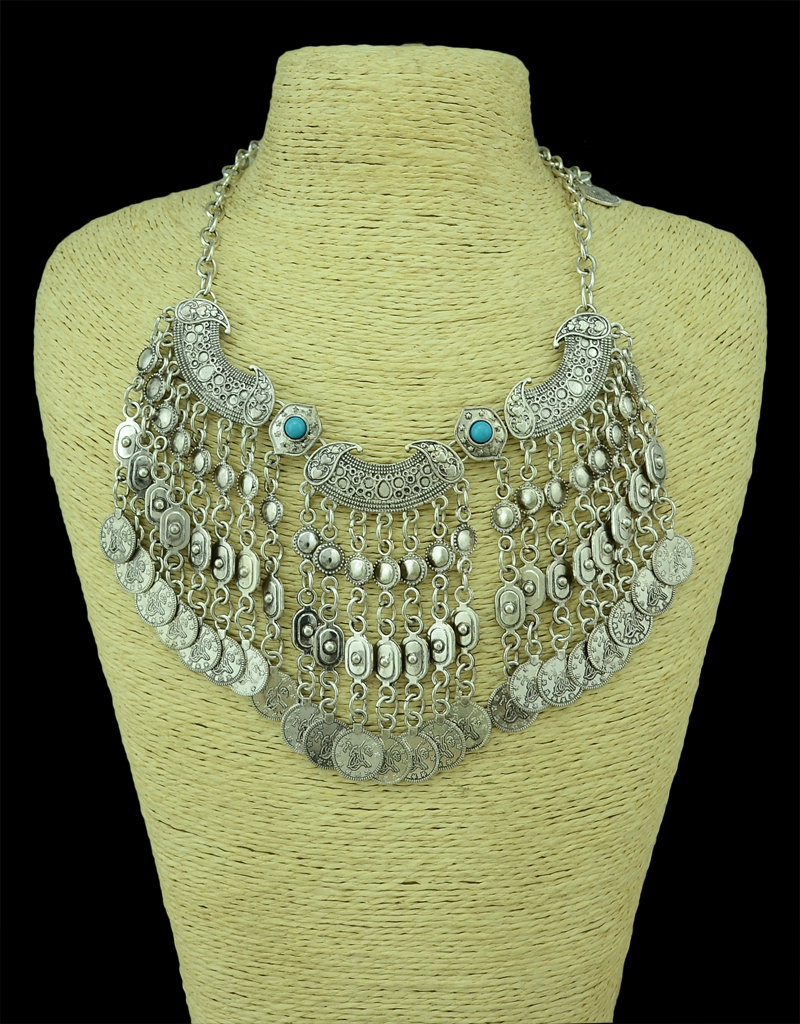 Bohemian Fringe Boho Gypsy Antalya Ebony Silver Festival Coachella Turkish India Ethnic Coin Collar Statement Necklace