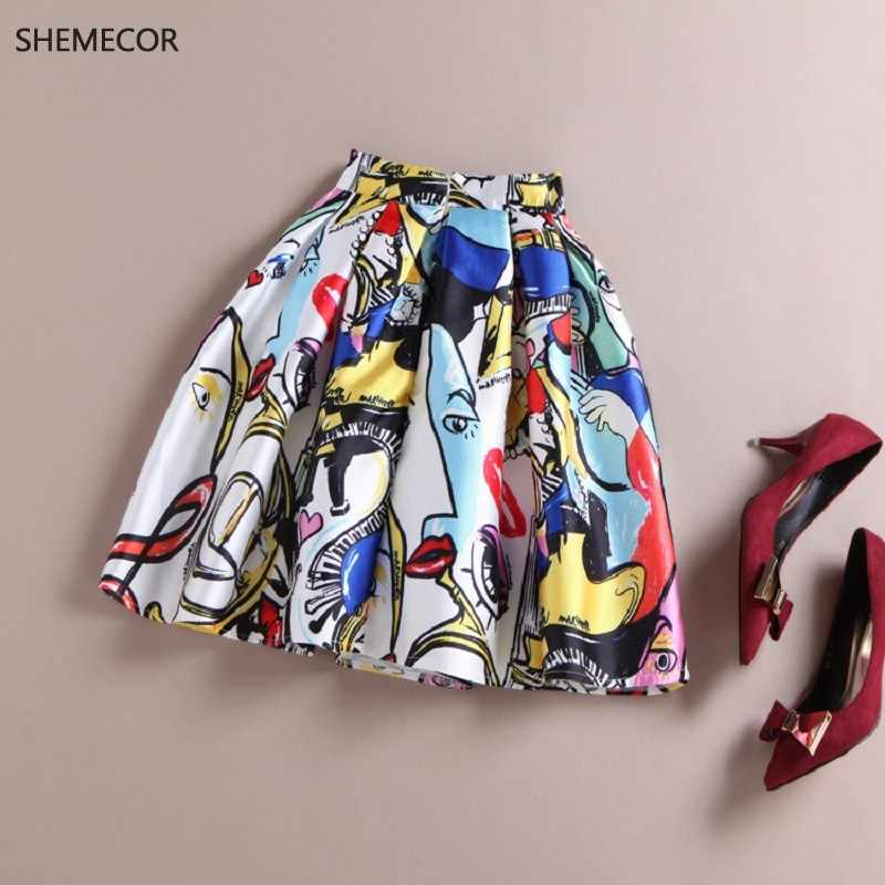 SHEMECOR Spring Autumn Women Graffiti Fashion Elements Floral Print Pleated Mini Skater Skirts Falda Femininas