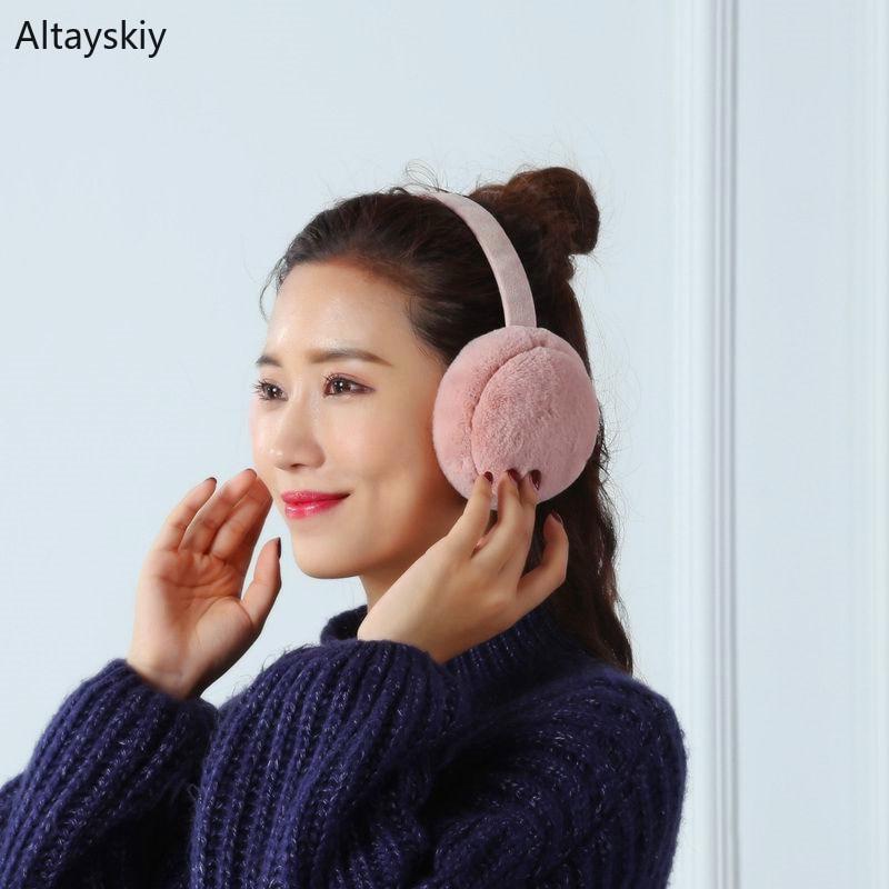 Earmuffs Women Plus Velvet Solid Folding Winter Soft Warm Plush Ear Korean Style Sweet All-match Womens Simple Leisure Earmuff