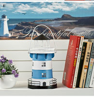 Mediterranean Style Iron Lighthouse Handmade Home Decoration Candle Holder