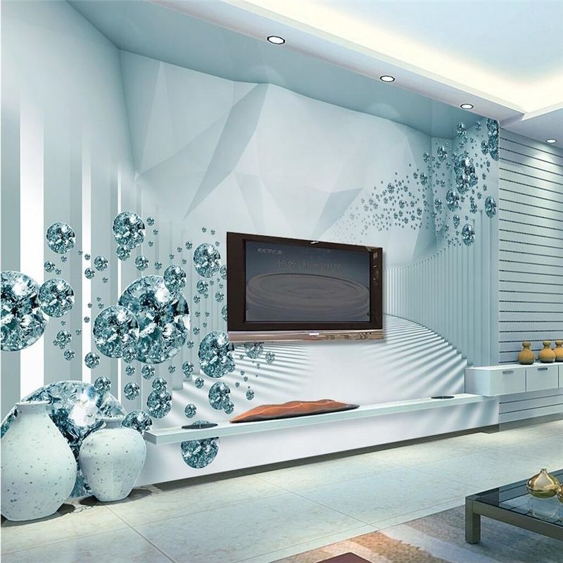 US $8.25 45% OFF|Beibehang Tapete Wandbild Wand Stick 3d 3D Raum Sinne  Moderne Mode Kristall Ball TV Wand papel de parede tapete für wand-in  Tapeten ...