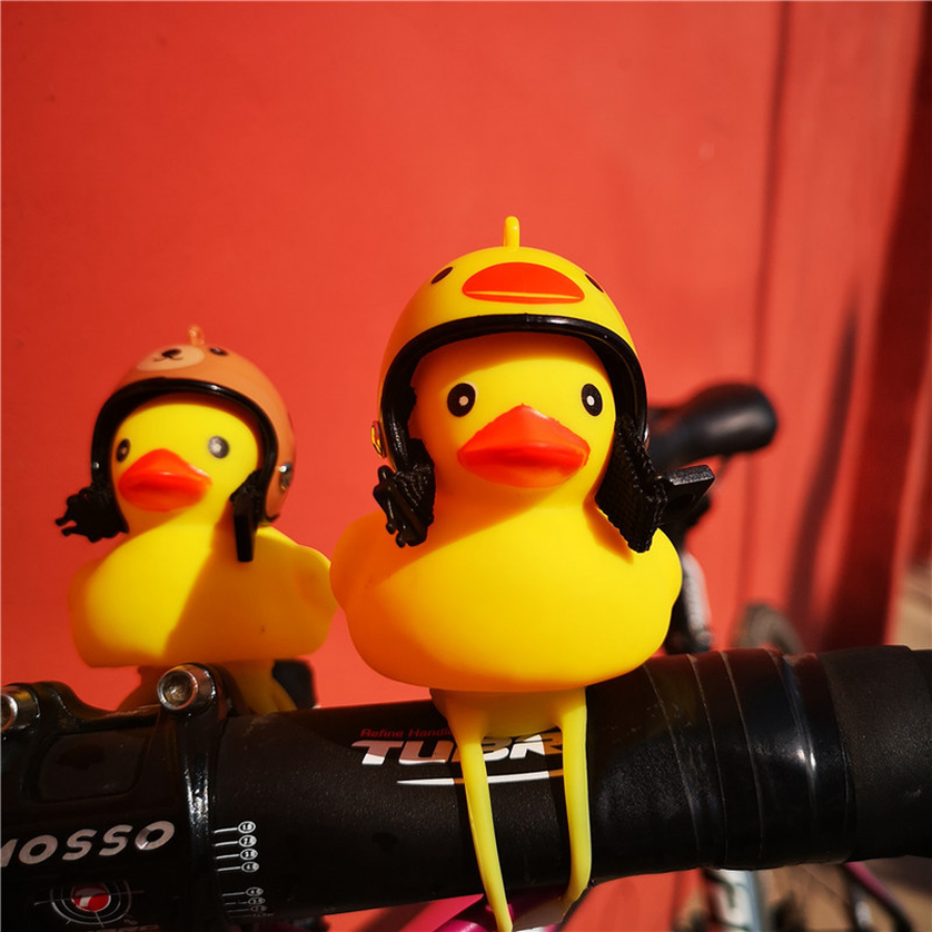 New Cartoon Yellow Silica Gel Little Duck Shape Bicycle Bells Shining Mountain Bike Handlebar Duck Head Light Accessories 2019 in Figurines Miniatures from Home Garden