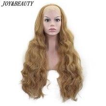 الفرح والجمال 26 بوصة طويلة متموجة الاصطناعية الدانتيل شعر مستعار أمامي غلويليس الحرارة مقاومة السويسري غلويليس 150% كثافة للنساء