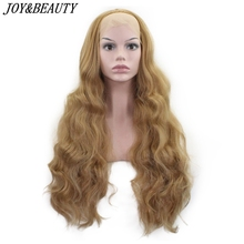 JOY & BEAUTY peluca sintética de 26 pulgadas de largo ondulado con malla frontal sin pegamento, resistente al calor, Swiss sin pegamento, 150% de densidad para mujer