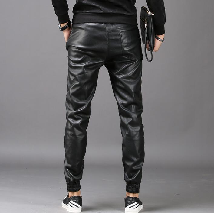 Winter personality fashion harem pants mens leather trousers pantalones hombre cargo feet pants for men lus velvet thickening