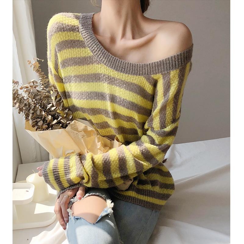 Rayé Top Printemps Plus Femme Pulls Chandails Taille Jumper Bleu jaune La Femmes Casual Oversize 2018 Tricoté Automne Coton Jaune Dames CrxWodQBEe