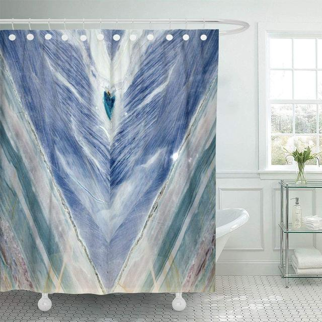 Shower Curtain With Hooks Yellow Abstract Blue Marble Onyx Gem Mineralogy Nature Closeup Floor Stone Agate Decorative Bathroom