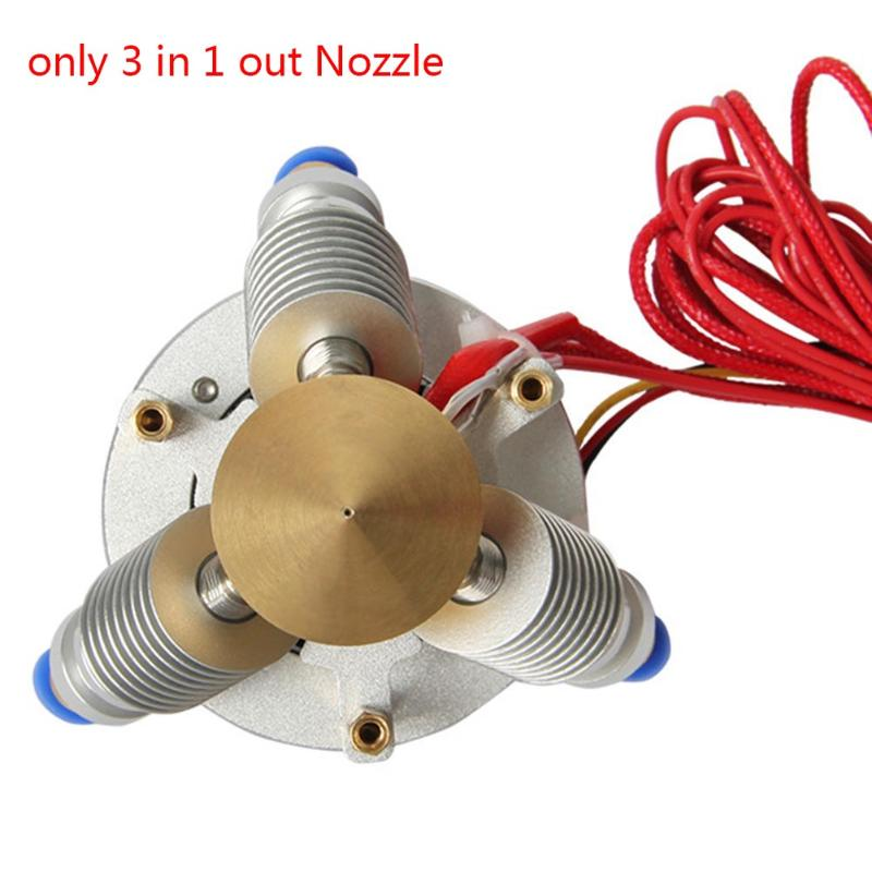 3 In 1 Out Nozzle Brass Extruder Diamond Filament Hot End 0.4mm For 1.75mm 3D Printer Part 3D Printer Parts & Accessories