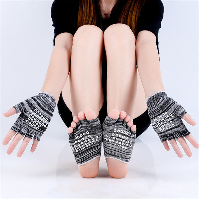 Women's Striped Non-Slip Yoga Socks and Gloves Set