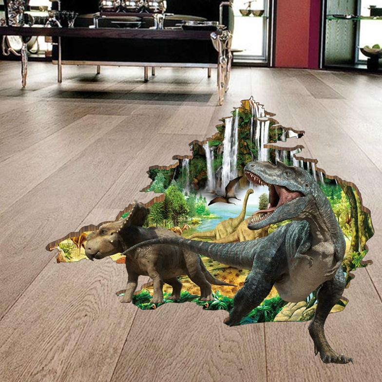 Dinosaur Pass Through House 3D View Wall Sticker For Living Room Floor Home Decor Art Jungle Primordial Forest Decal