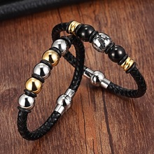XQNI Stainless Steel Chain Bracelet Men Genuine Leather Bracelets Gold Ladies Black Color Leather Bracelet for women Cuff Buckle