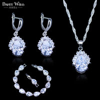 Princess Jewelry White Australia Crystal Water Drop Silver Color 925 Stamp Jewelry Set For Women Drop