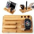 Para todos apple relojes multi cargador del muelle de soporte de madera de bambú para iphone 7 6 s sí 5S/para xiaomi/para huawei carga i reloj titular