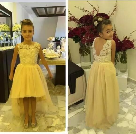 Ivory Lace Hi-Low Flower Girl Dress for Wedding Crew Neck Sleeveless Beautiful Girls Pageant Gown Vestido De Daminha ol square neck sleeveless patch lace bodycon dress for women