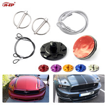 цена на R-EP Universal Aluminum Hood Pins Lock with Quick Latch Rope Hood Lock Clip Kit for Racing Car Engine Bonnets without Drilling