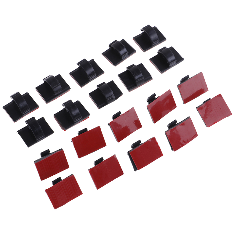 20pcs <font><b>Adhesive</b></font> <font><b>Car</b></font> <font><b>Cable</b></font> <font><b>Clips</b></font> <font><b>Cable</b></font> Winder Drop Wire Tie Fixer Desk <font><b>Cable</b></font> Tie Clamps Holder Cord Organizer Management image