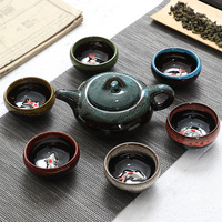 Beautiful 7pcs chinese Tea Set Ceramic Kungfu Teapot Porcelain Teaset Tea Cups Ceremony for black/puer/green/white cha,good gift