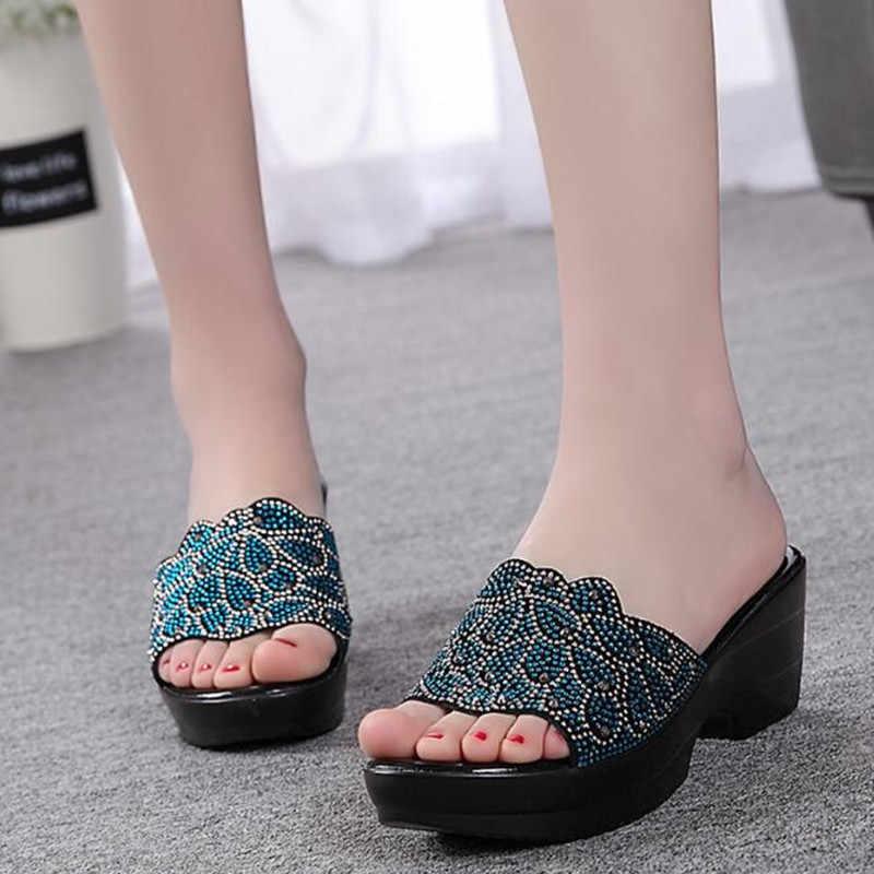 YAERNI New Summer Women Sandals Genuine Leather Shoes Rhinestones shoes Slippers Large Size Non-slip Fashion Sandals Women Shoes