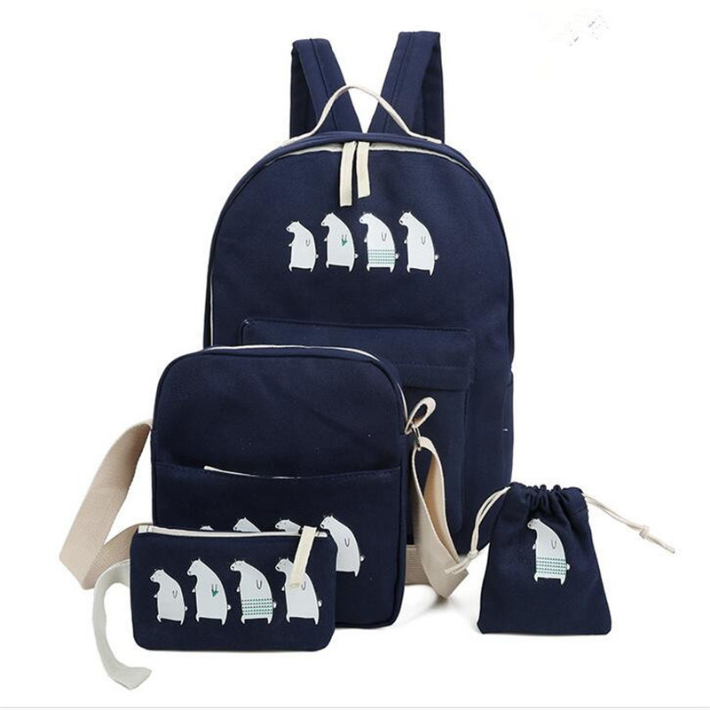 ФОТО Preppy Style Student School Bag Cute Animal Printing Women Backpack For Teenage Girl Book Bags Casual Woman Backpack Set JXY602