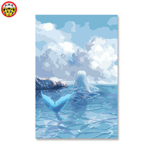 Mermaid Anime game Cartoon Seascape Oil Painting By Numbers DIY Digital Pictures Coloring Number On Canvas Unique Gifts Home