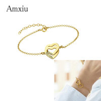 Amxiu 100% 925 Sterling Silver Hearts Bracelets Custom Two Names Adjustable Bracelet For Lovers Hand Accessories Women Jewelry