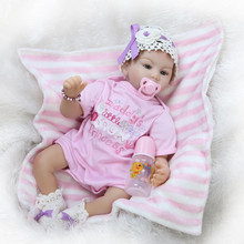 55 cm 22 Inches Lifelike Silicone Early Education Reborn Baby Dolls For Baby Girl Real Looking Newborn Babies Kid Birthday Gifys
