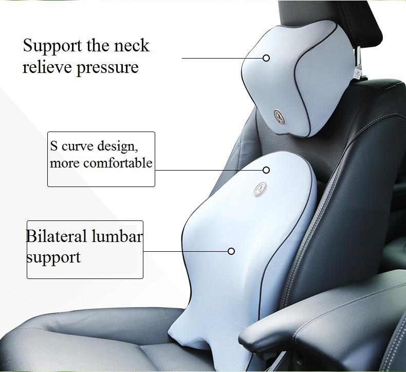 Прокат подушкой стул Премиум пены памяти подголовник подушка для шеи Эргономика здоровья автомобиля подушки авто аксессуары черный
