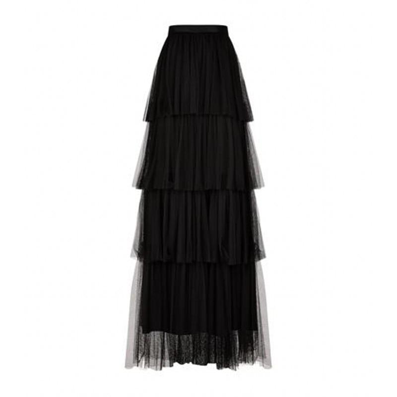 Black Tiered Layers Tulle Skirt Customized Nature Waistline A Line Floor  Length Long Maxi Skirt Full Skirts Women