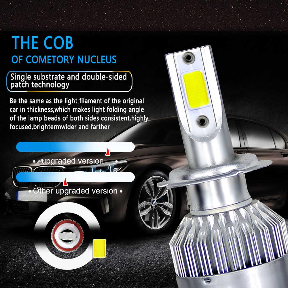 2 قطعة مصابيح سيارة لمبات LED H4 H7 9003 HB2 H11 LED H1 H3 H8 H9 880 H27 9005 9006 HB4 H13 9004 9007 كشافات السيارات 72 واط COB 6000 كيلو