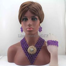 Exclusive New Purple/Gold Indian Wedding African Beads Jewelry Set Women Costume Chunky Necklace Set Bride Free Shipping HD8365